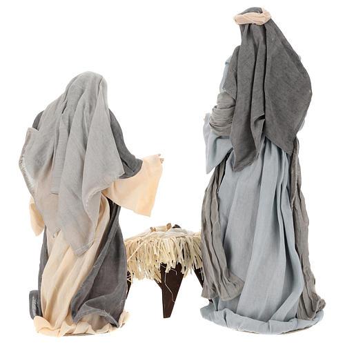 Natividad y reyes magos 46 cm resina tela violeta gris 7