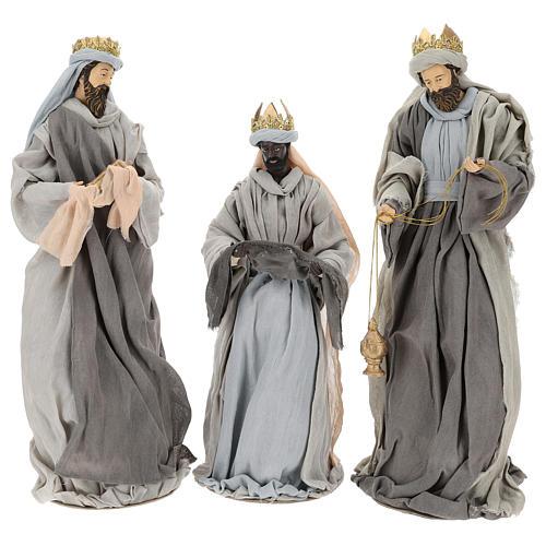 Natividad y reyes magos 46 cm resina tela violeta gris 8