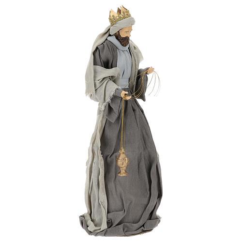 Natividad y reyes magos 46 cm resina tela violeta gris 10