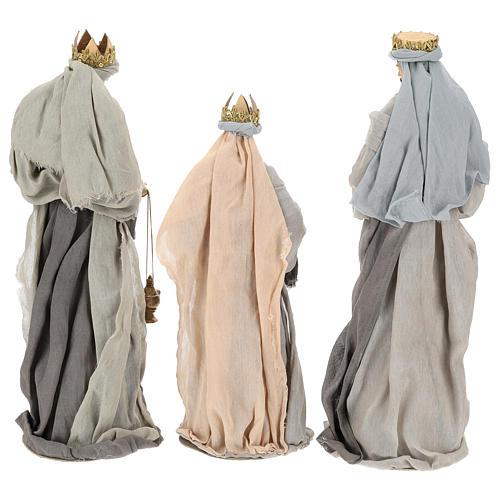 Natividad y reyes magos 46 cm resina tela violeta gris 11