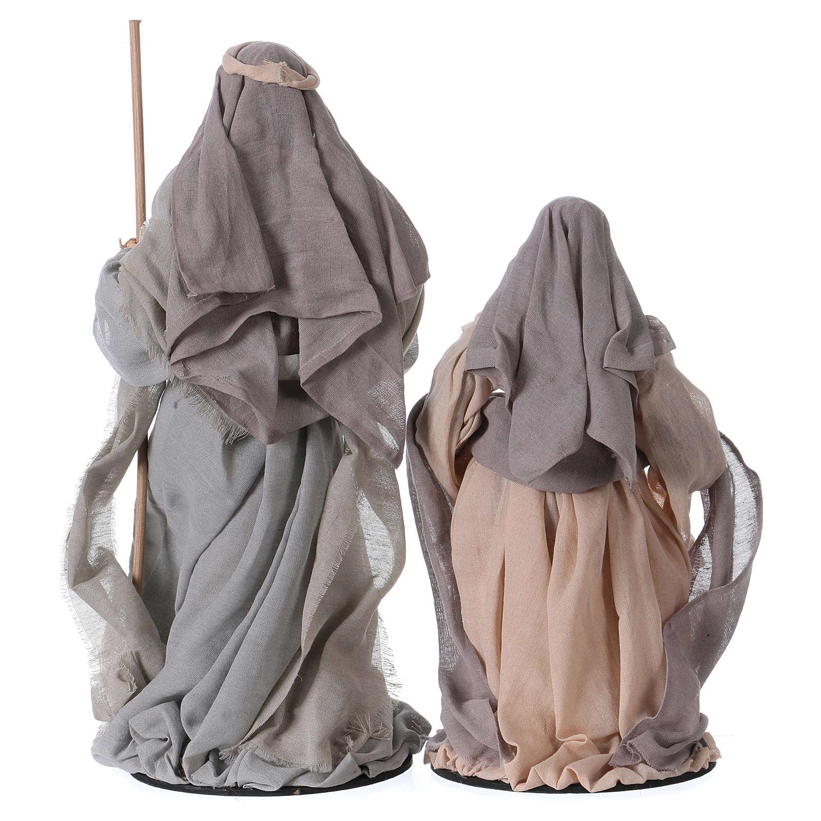 Natività e re magi 46 cm resina tessuto viola grigio 3
