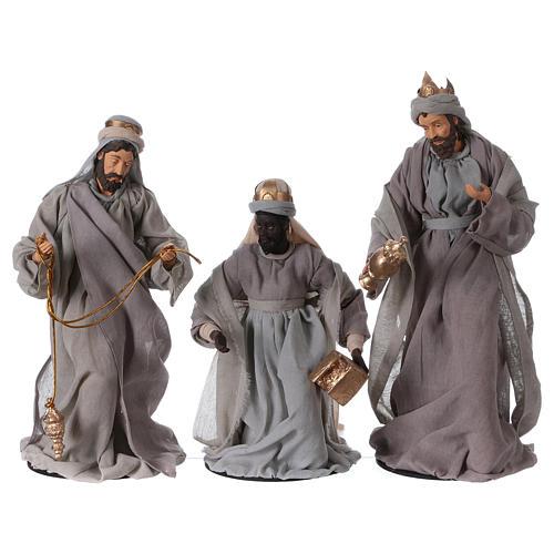 Natività e re magi 46 cm resina tessuto viola grigio 7