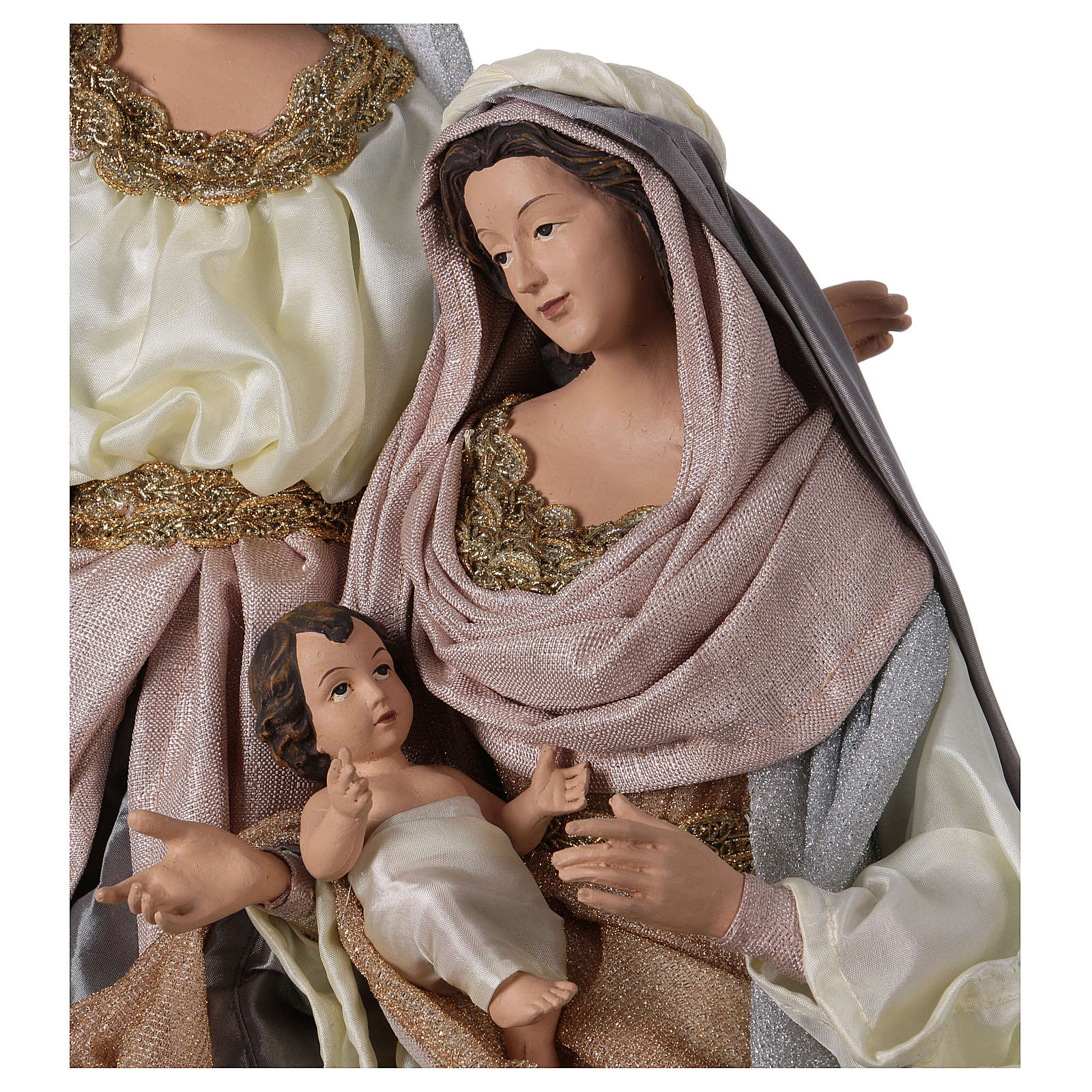 Heilige Familie 66cm Harz und Stoff Shabby Chic grau und rosa 3