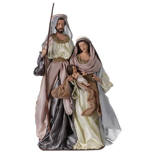 Heilige Familie 66cm Harz und Stoff Shabby Chic grau und rosa 1