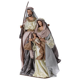 Holy Family 66 cm resin and pink and grey cloth Shabby Chic style s3