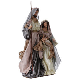 Holy Family 66 cm resin and pink and grey cloth Shabby Chic style s4