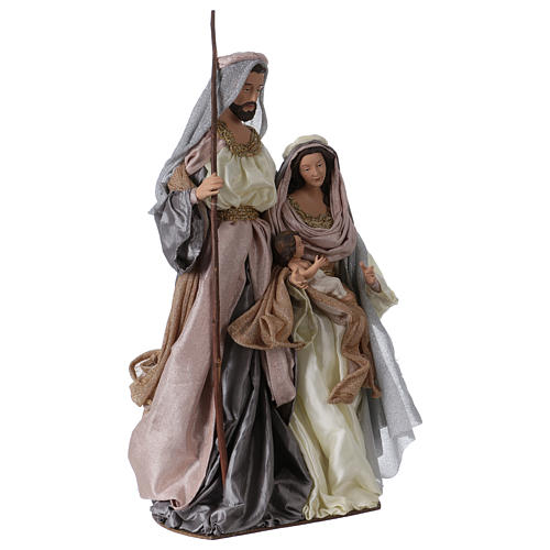 Holy Family 66 cm resin and pink and grey cloth Shabby Chic style 4