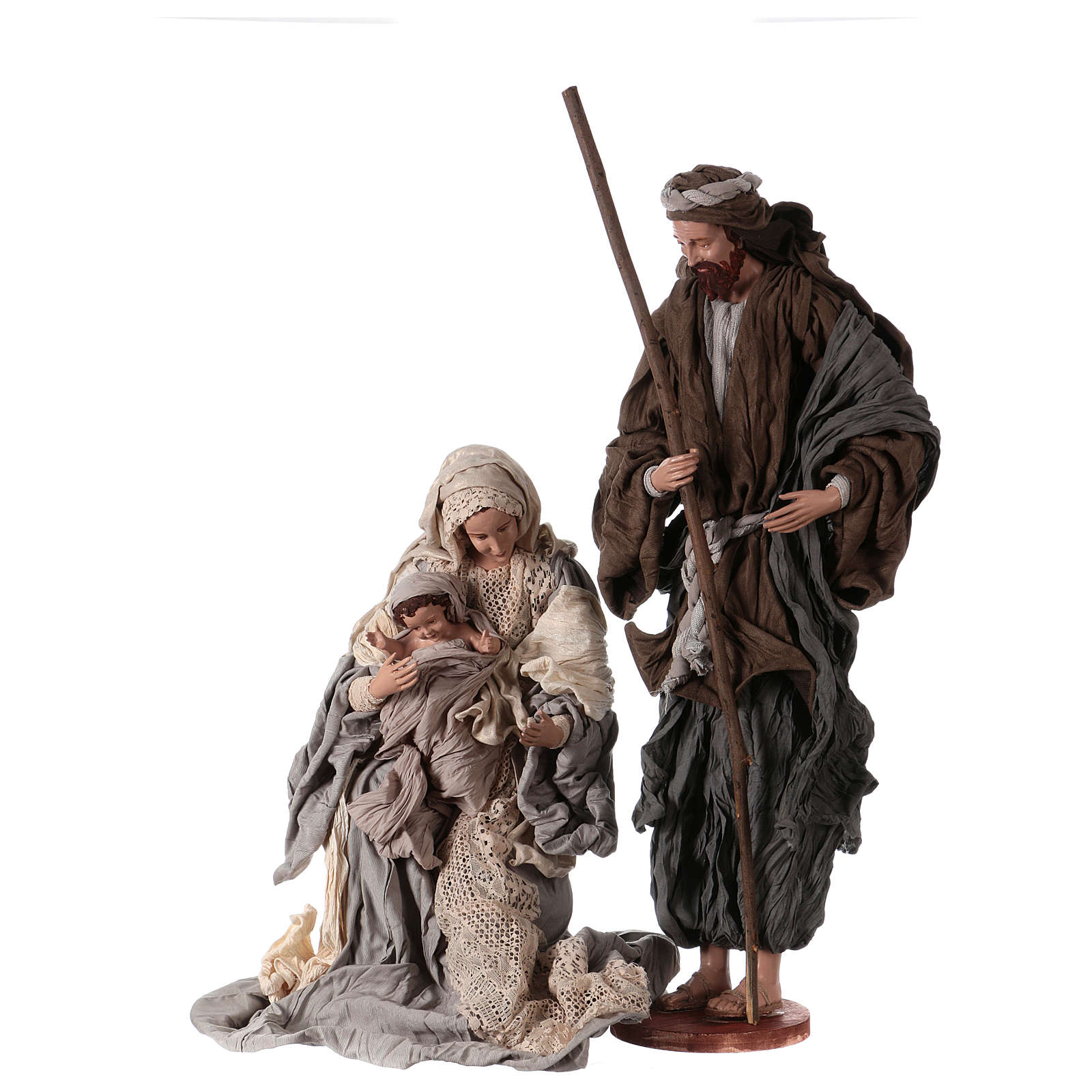 Holy Family on base 81 cm resin and beige and grey cloth 3