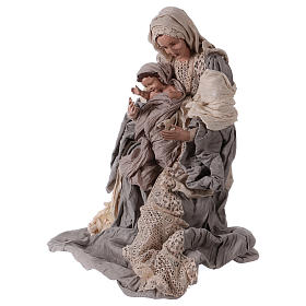 Holy Family on base 81 cm resin and beige and grey cloth s3