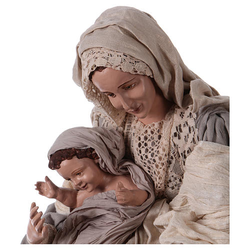 Holy Family on base 81 cm resin and beige and grey cloth 2