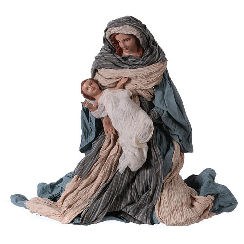 Holy Family 60 cm resin and blue and brown cloth Shabby Chic style 3