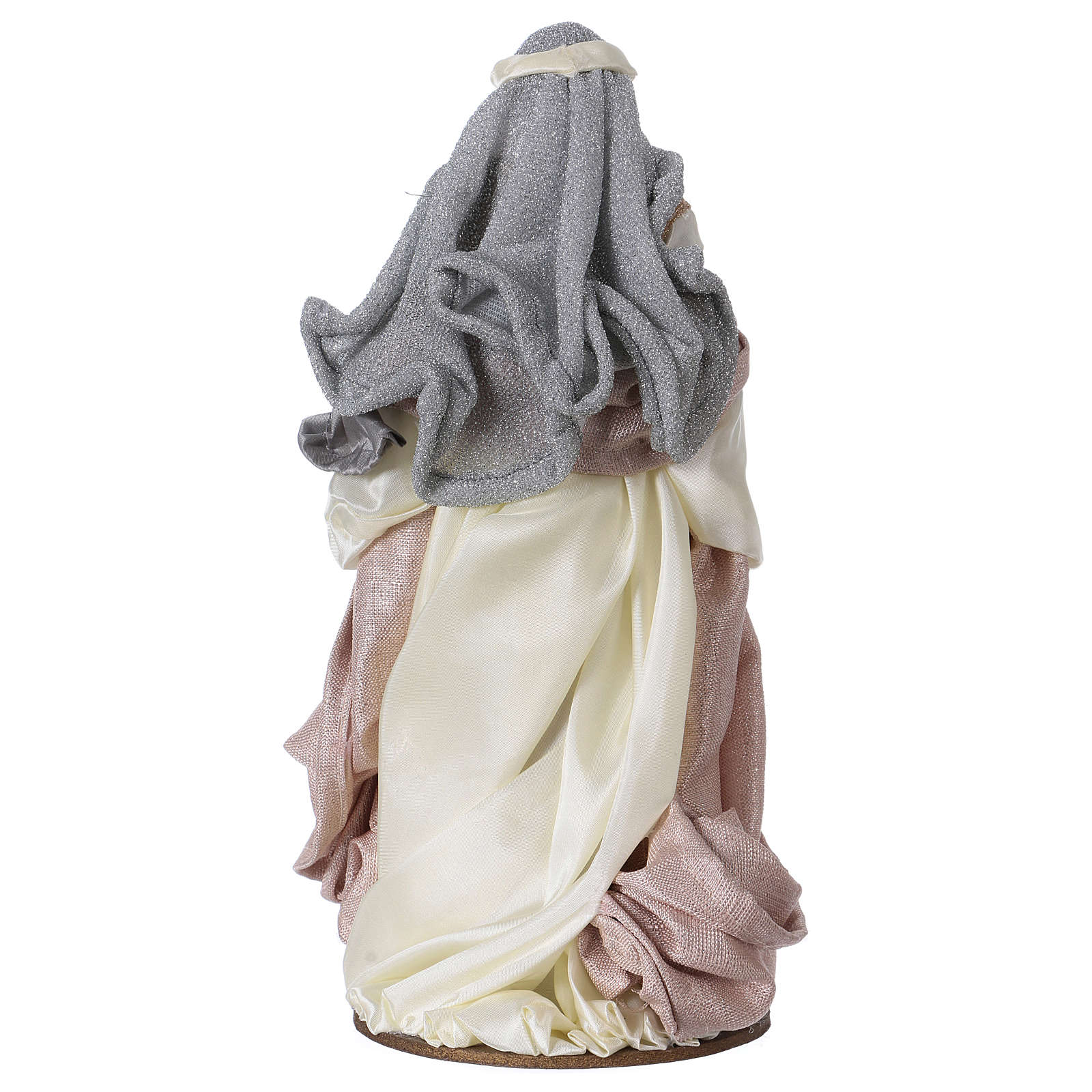 Natividad 38 cm resina tela gris rosa Shabby Chic 3
