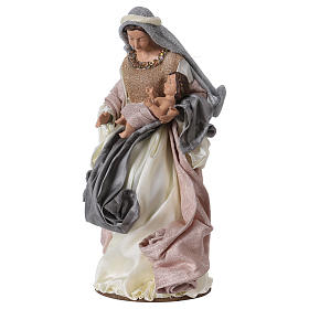 Natividad 38 cm resina tela gris rosa Shabby Chic s3