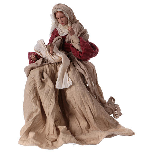 Holy Family 43 cm resin and ivory and burgundy cloth 4