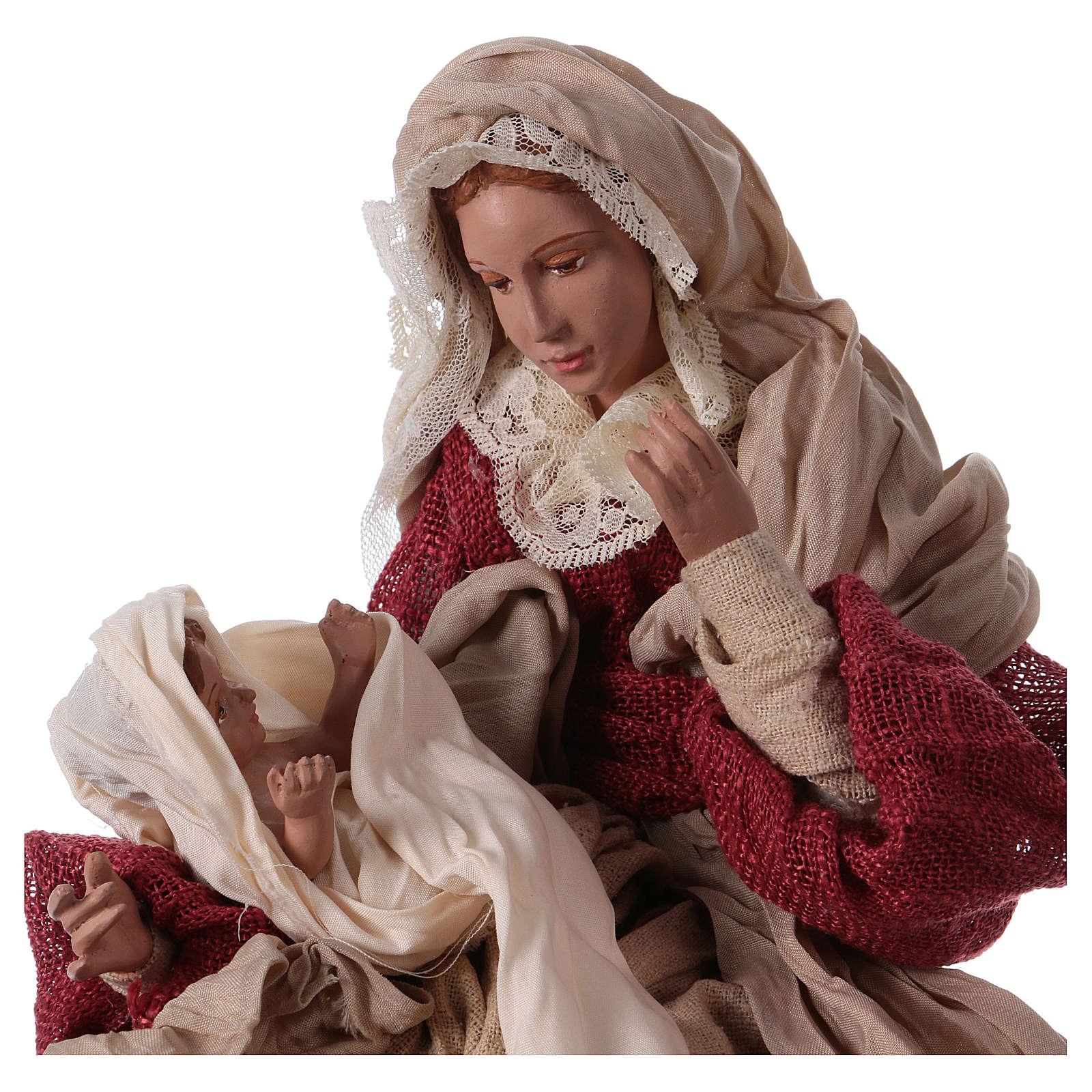 Nacimiento 43 cm resina y tela tejido beige y burdeos 3