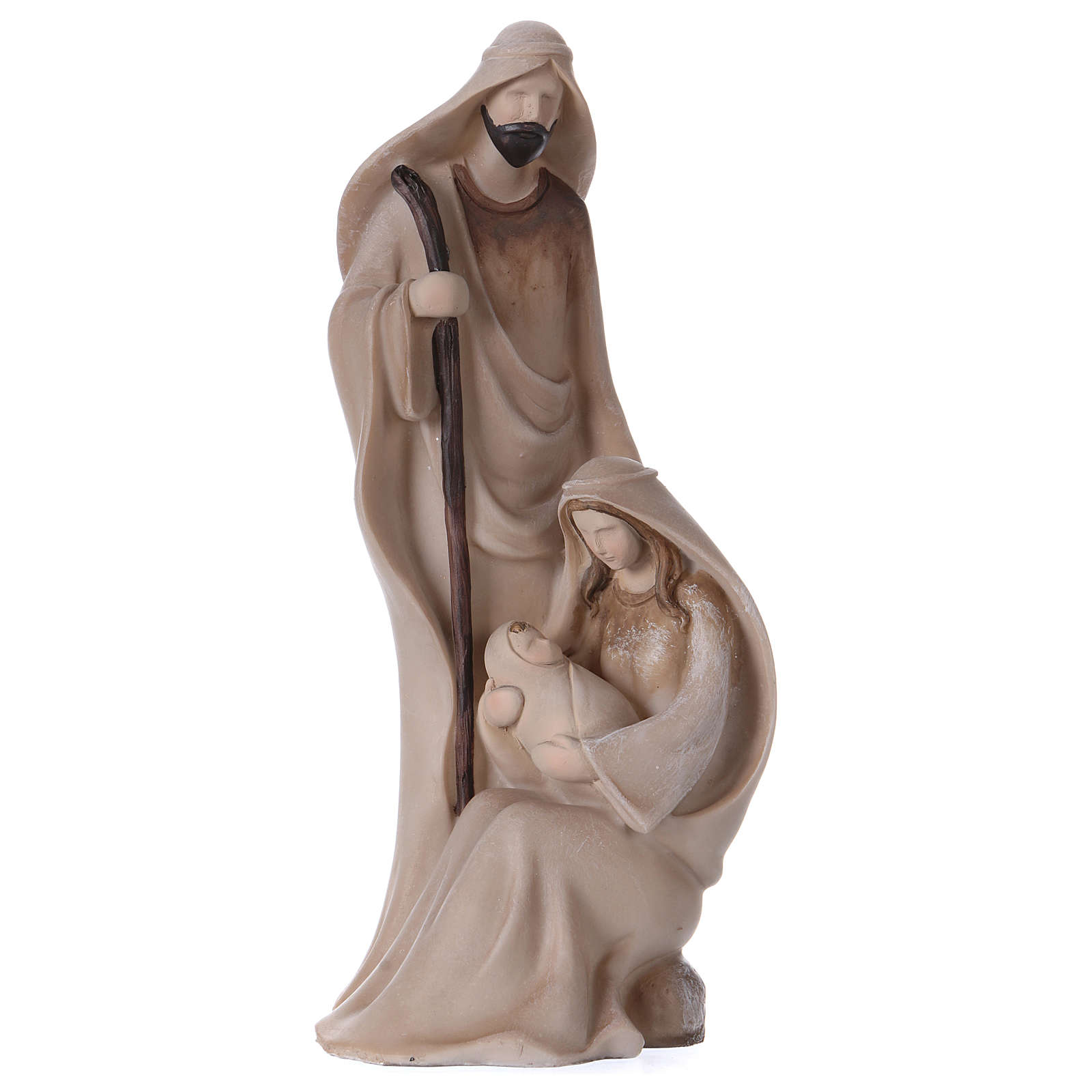 Holy Family 21 cm resin and beige cloth 3