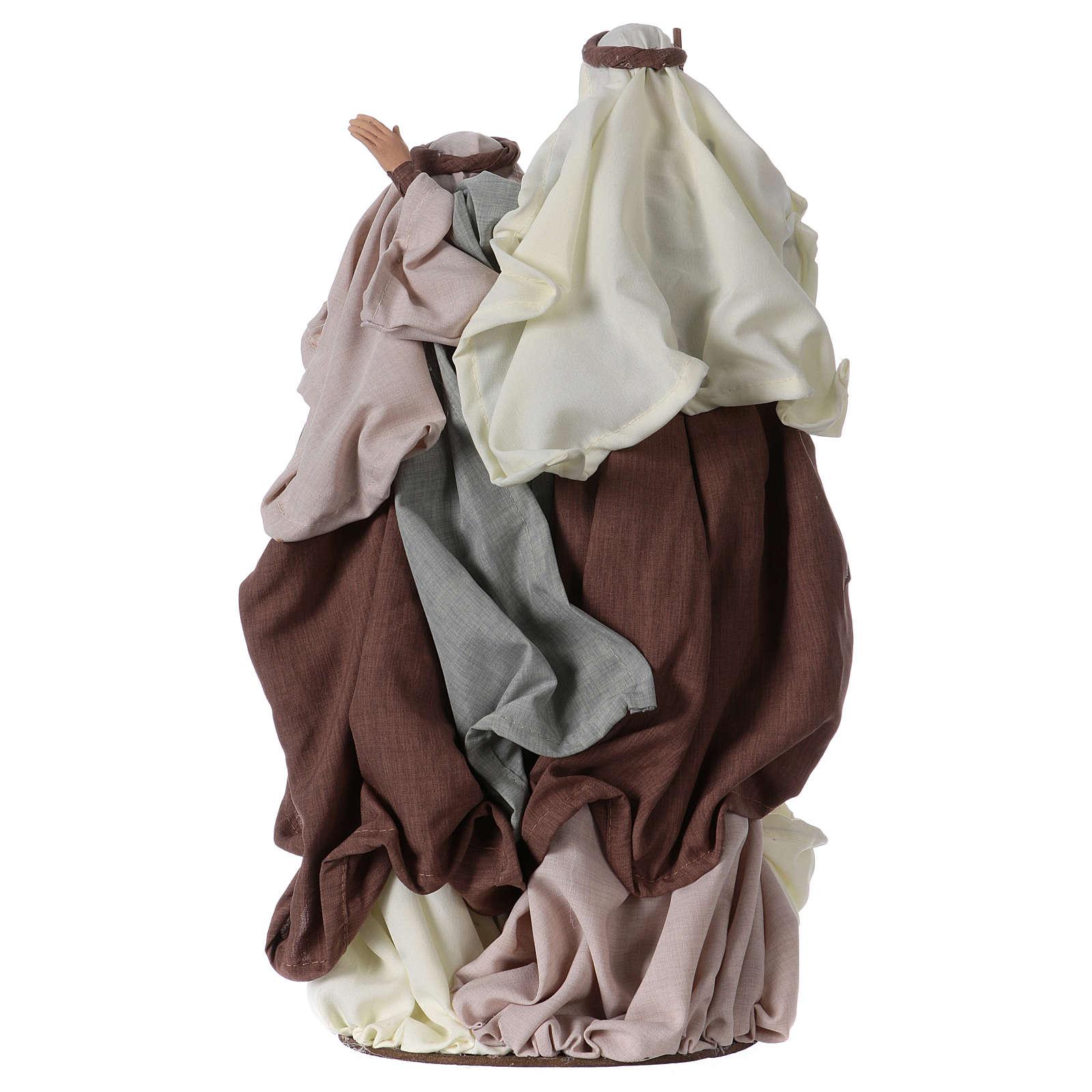 Nativité 47 cm sur base résine tissu vert et crème 3