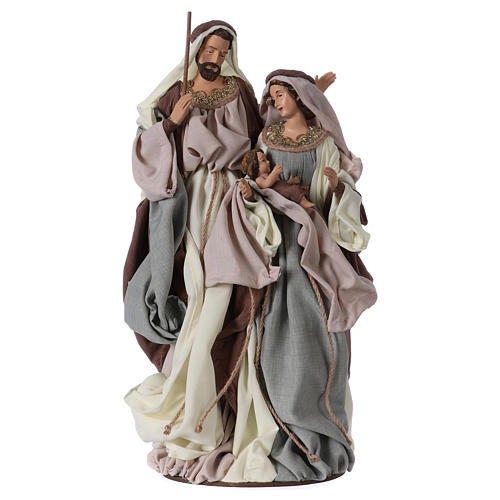Holy Family on base 47 cm, green and beige clothes 1