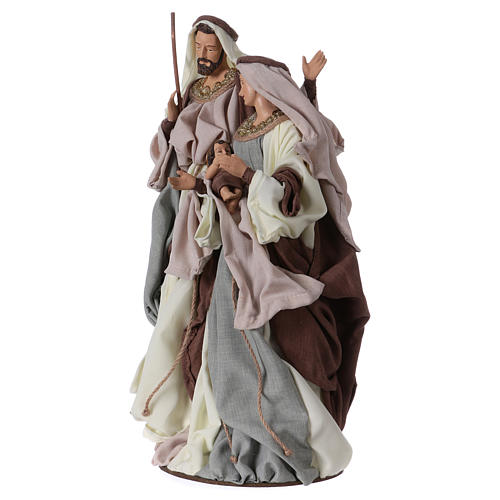 Holy Family on base 47 cm, green and beige clothes 2