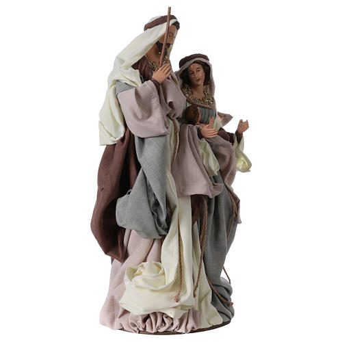 Holy Family on base 47 cm, green and beige clothes 3