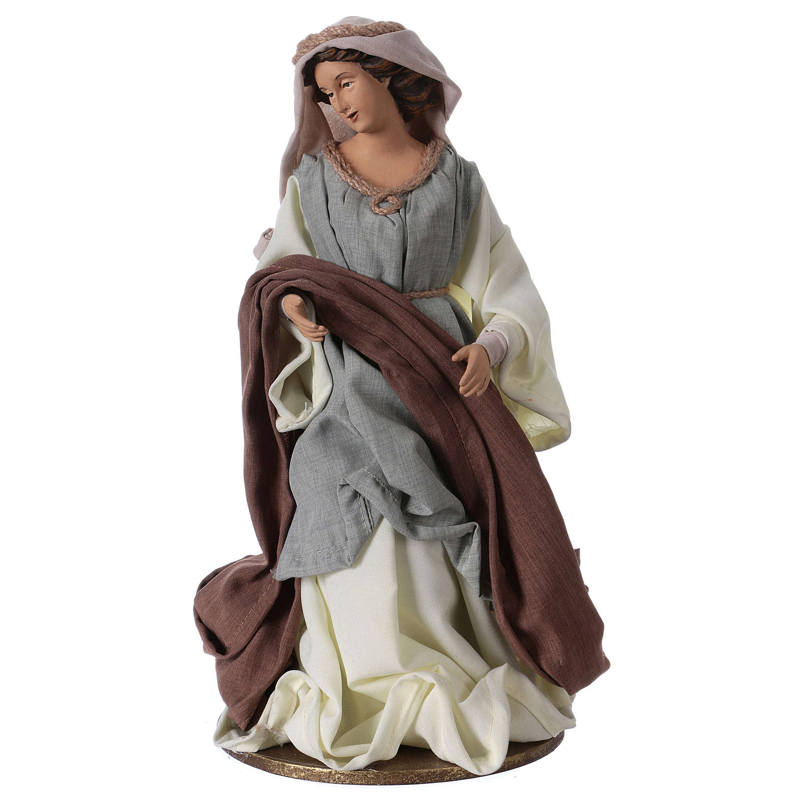 Holy Family 36 cm resin beige and green cloth 3