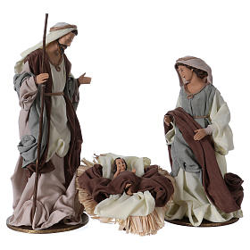 Holy Family 36 cm resin beige and green cloth s1