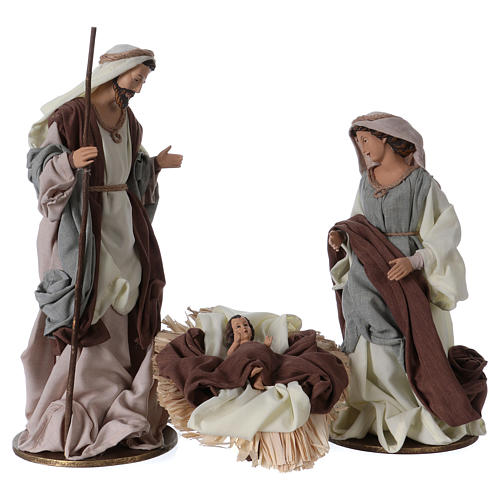 Holy Family 36 cm resin beige and green cloth 1