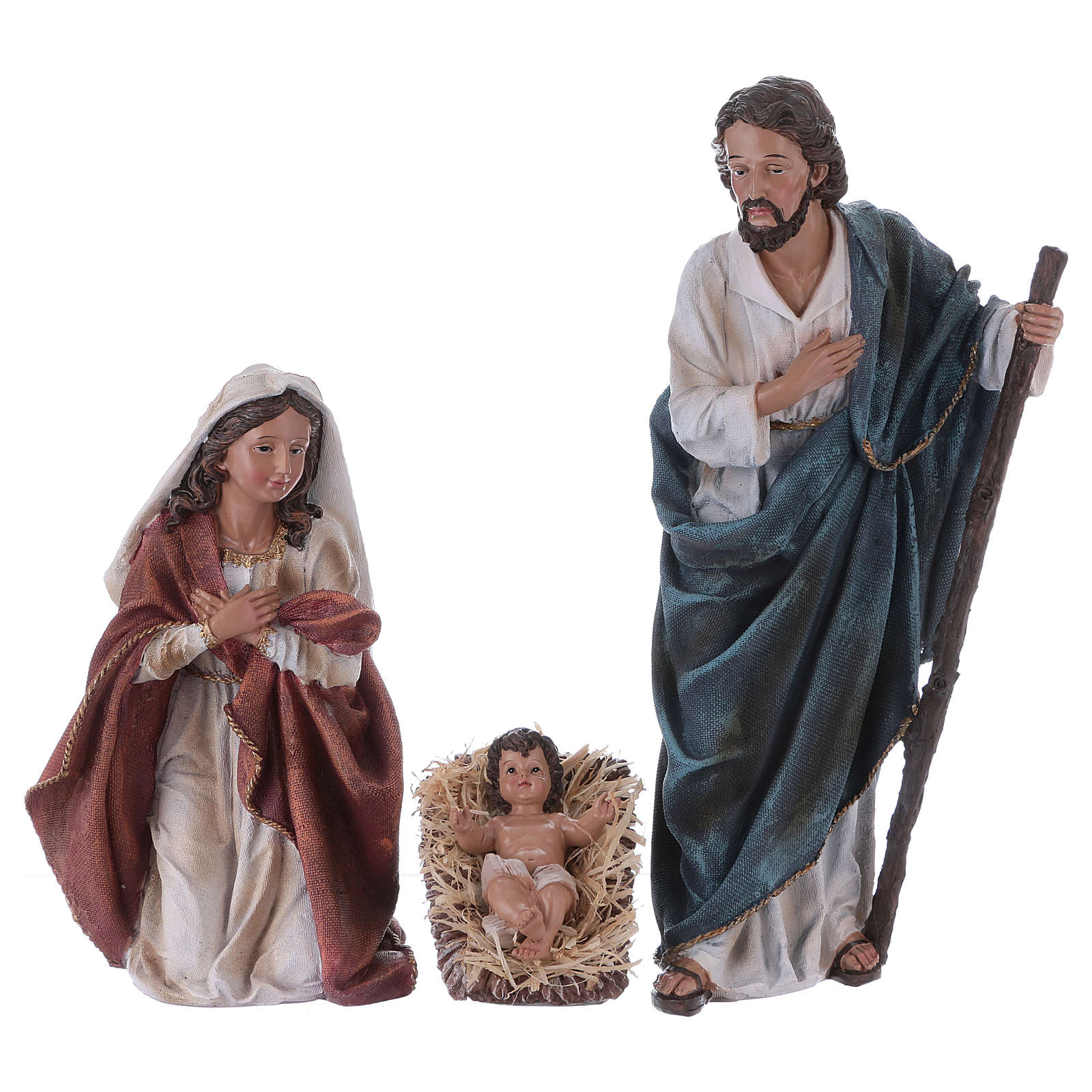 Holy Family with ox and donkey in resin for Nativity Scene 45 cm 3