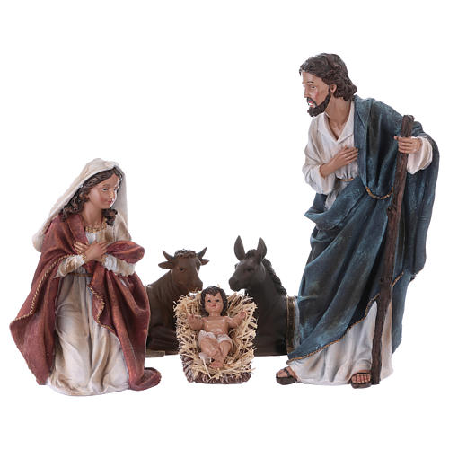 Holy Family with ox and donkey in resin for Nativity Scene 45 cm 1