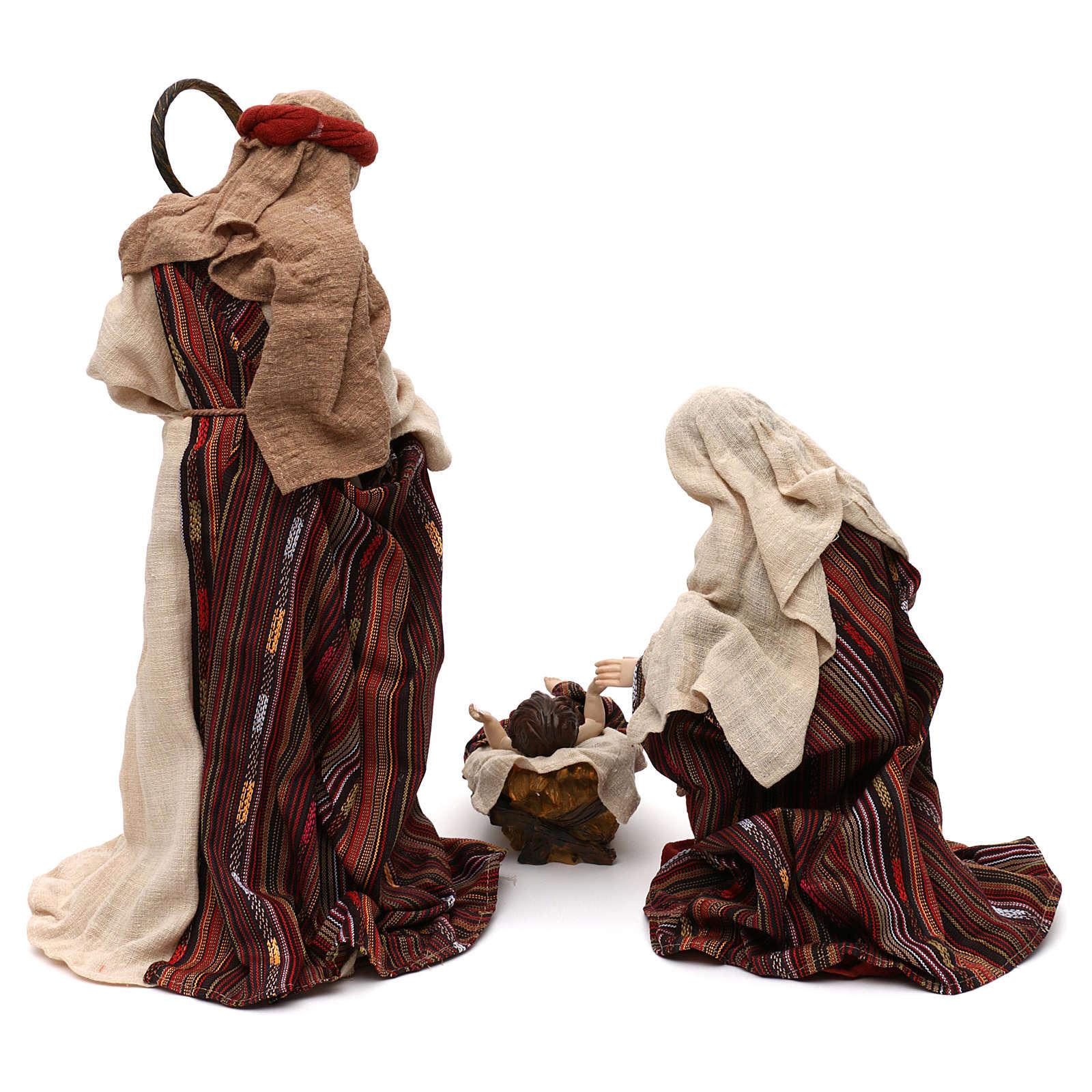 Sacra Famiglia stile orientale vesti pregiate resina colorata 42 cm 3