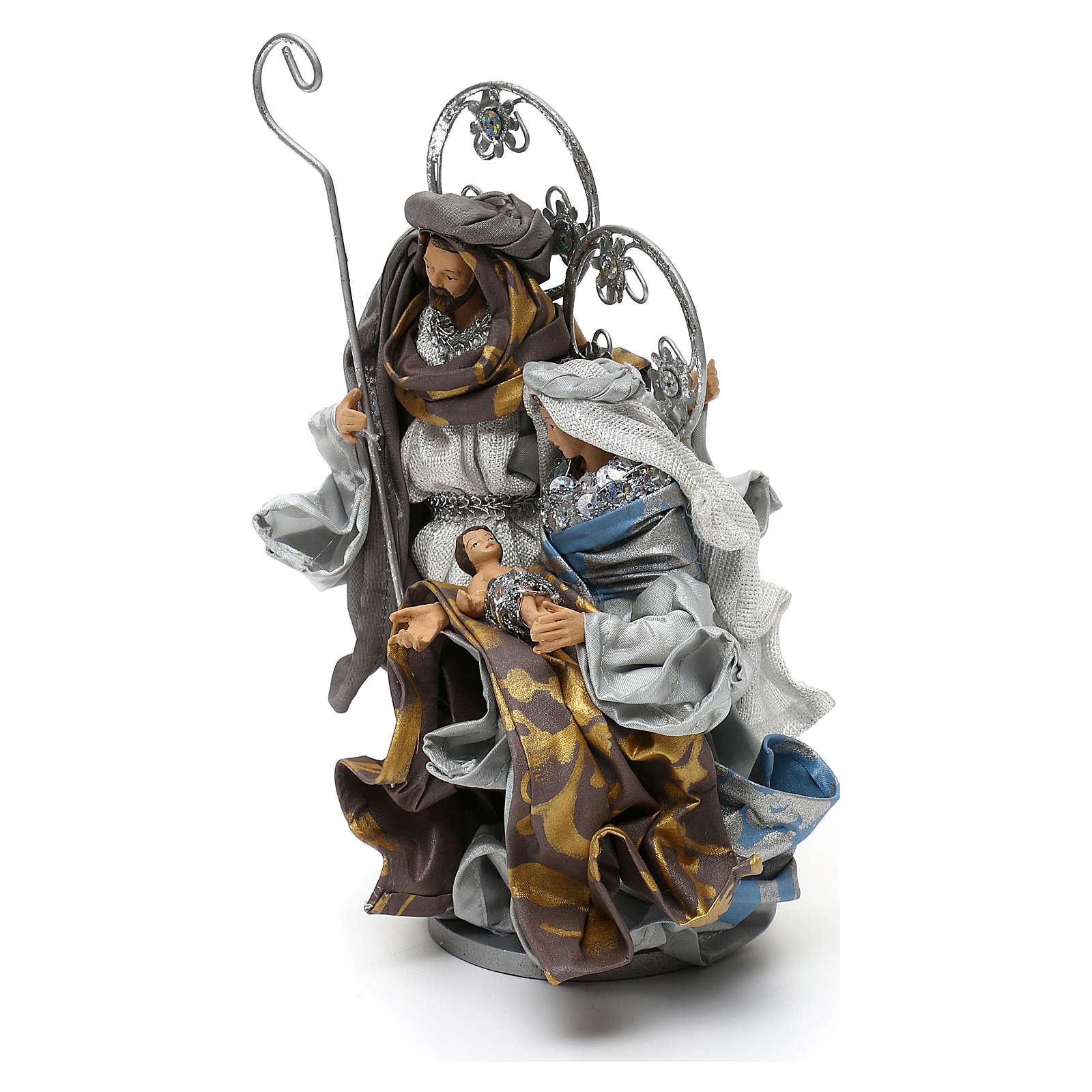 Holy Family Shabby chic style, in silver 22 cm 3