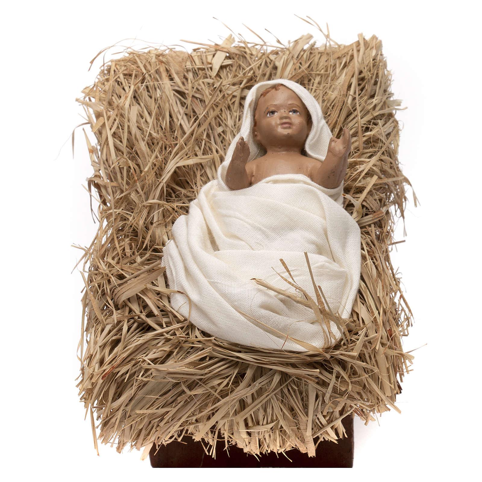 Natività bambino in culla 45 cm shabby chic 3