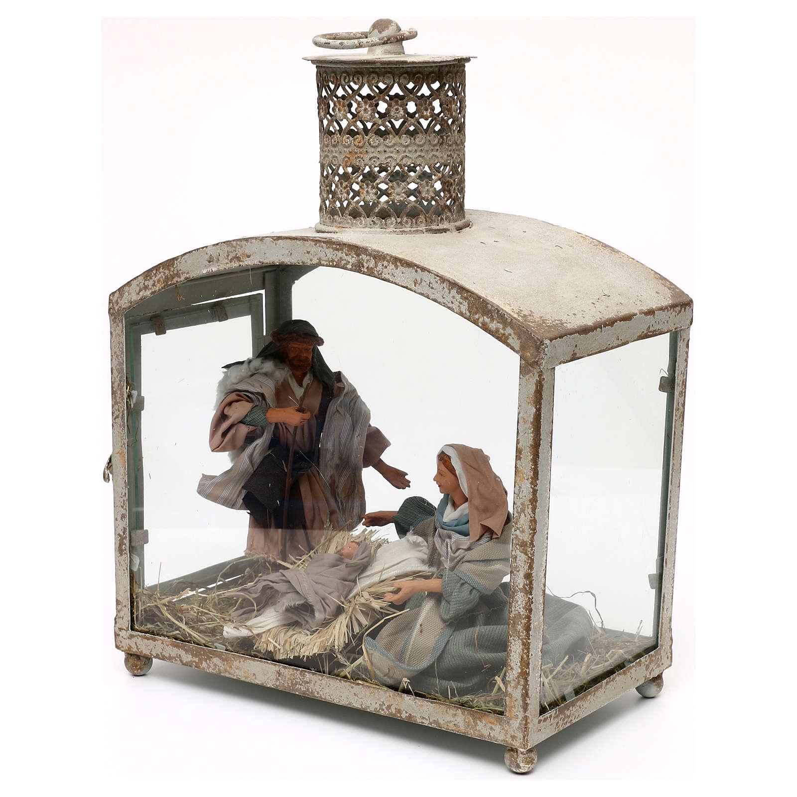 Holy Family in lantern 18 cm, Shabby chic 40x30x15 cm 3