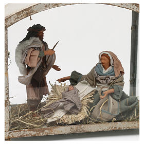 Holy Family in lantern 18 cm, Shabby chic 40x30x15 cm s2