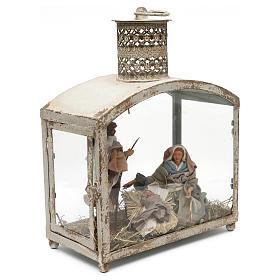Holy Family in lantern 18 cm, Shabby chic 40x30x15 cm s6