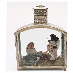 Holy Family in lantern 18 cm, Shabby chic 40x30x15 cm s7