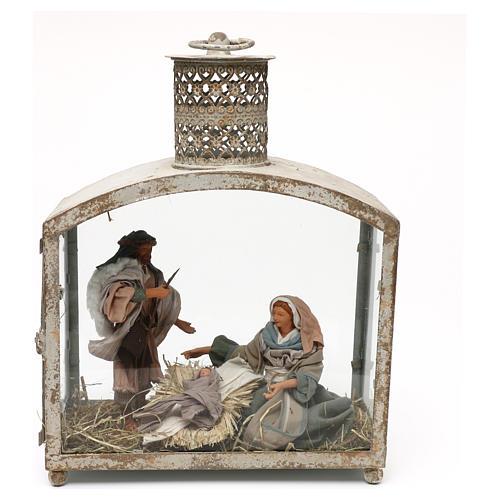 Holy Family in lantern 18 cm, Shabby chic 40x30x15 cm 1