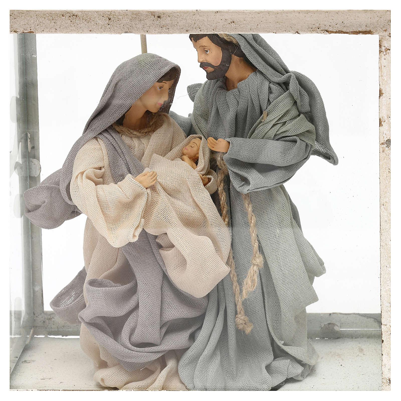 Natividad estilo shabby 20 cm en linterna de 45x25x15 3