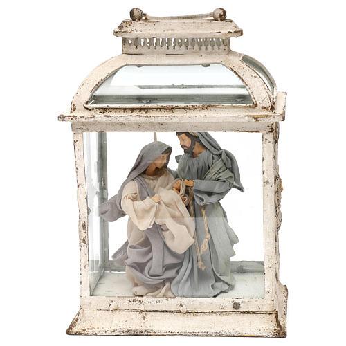 Natividad estilo shabby 20 cm en linterna de 45x25x15 1