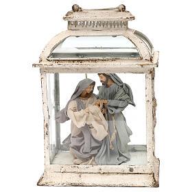 Natividade: Natividade estilo shabby chic 20 cm na lanterna de 45x25x15 cm