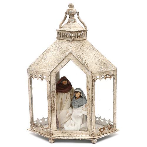 Sacra famiglia 20 cm in lanterna esagonale 45x35x15 cm 1
