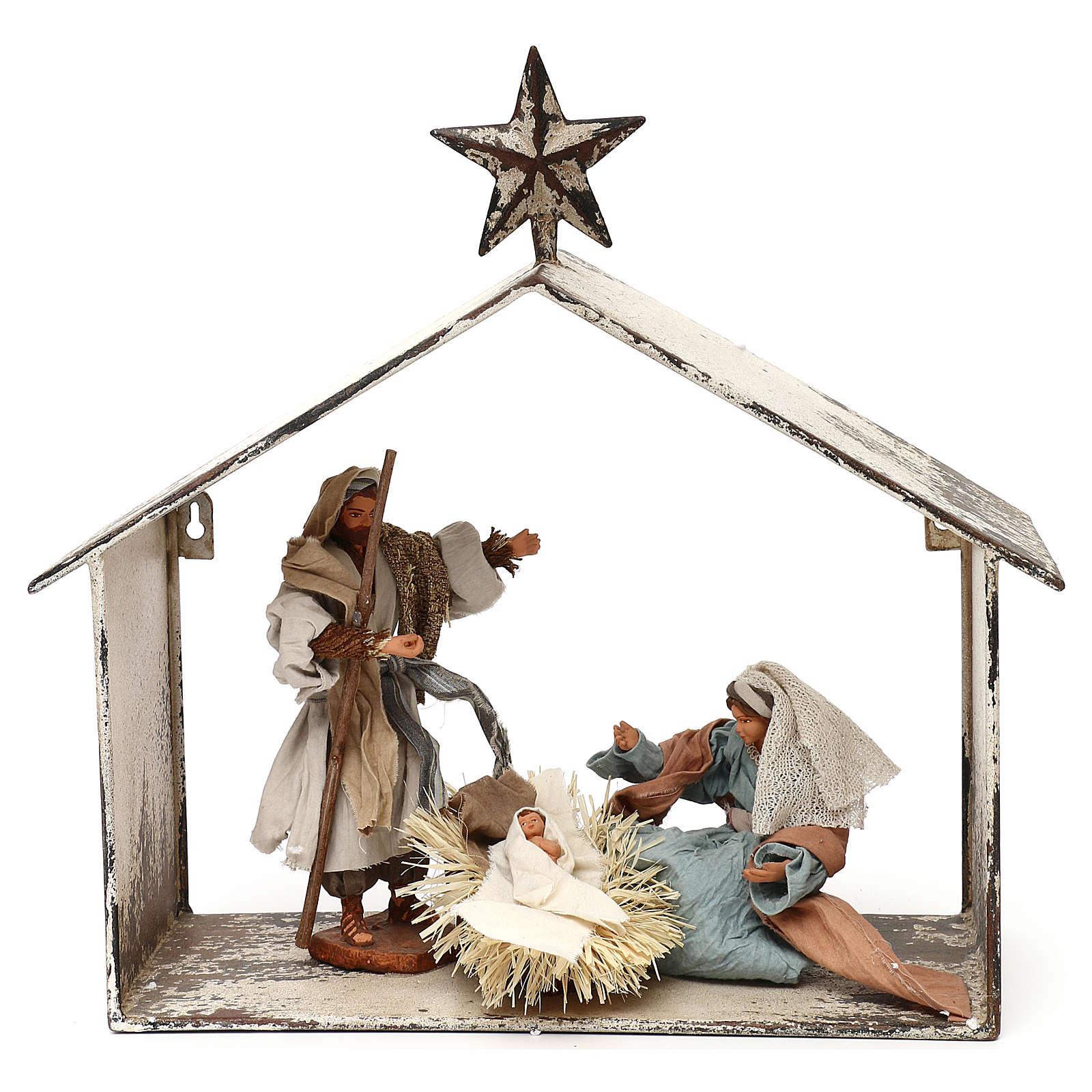Escena de la Natividad 20 cm estilo shabby en linterna 40x30x15 3