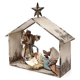 Escena de la Natividad 20 cm estilo shabby en linterna 40x30x15 s3