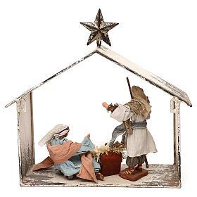 Escena de la Natividad 20 cm estilo shabby en linterna 40x30x15 s6