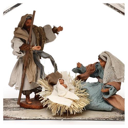 Escena de la Natividad 20 cm estilo shabby en linterna 40x30x15 2