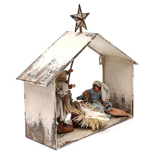 Escena de la Natividad 20 cm estilo shabby en linterna 40x30x15 5
