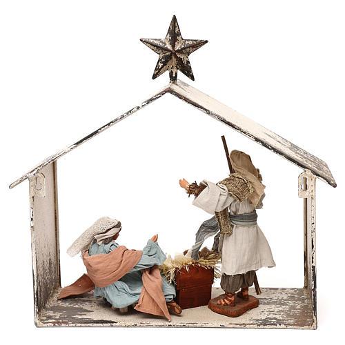 Escena de la Natividad 20 cm estilo shabby en linterna 40x30x15 6