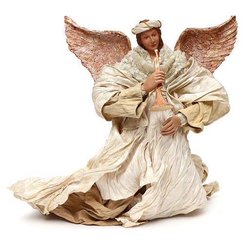 Ángel que vuela con trompeta 60 cm shabby chic 1