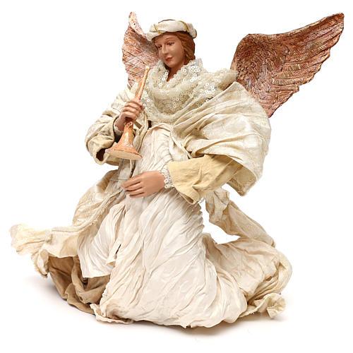 Ángel que vuela con trompeta 60 cm shabby chic 2