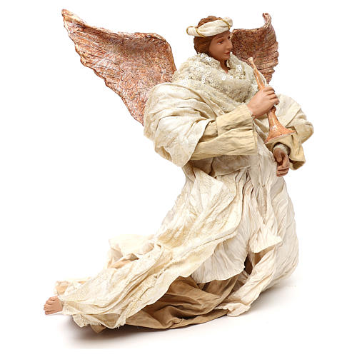 Ángel que vuela con trompeta 60 cm shabby chic 3
